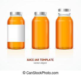 Realistic Juice Glass Jar Bottle Template Set. Vector