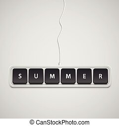 Realistic keyboard with 'SUMMER', vector illustration
