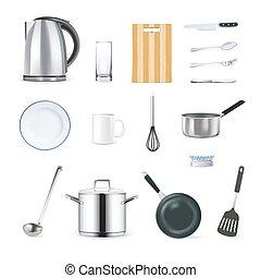 Realistic Kitchen Utensils Icons Set