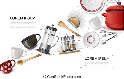 Realistic Kitchenware Elements Set