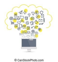 Realistic laptop set business icons