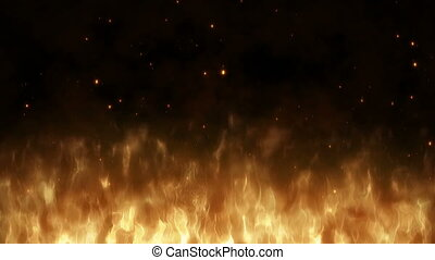 Realistic large fire with hot sparks rise in the night sky....
