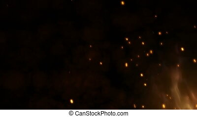 Realistic large fire with hot sparks rise in the night sky. Burning flame on an abstract background with a light particles. 4k 3D animation