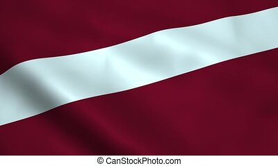 Realistic Latvia flag waving in the wind. Seamless looping.