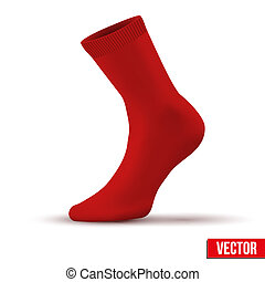 Realistic layout of red sock. A simple example. vector -...
