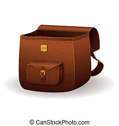 Realistic leather satchel, school bag with texture, brown...