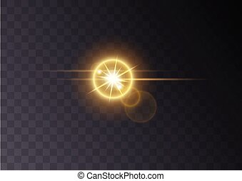 Realistic Lens flare light effect on transperent background. Glowing sunlight effect flash with rays and spotlight. Vector element