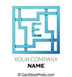 Maze letter e maze in the shape of capital letter e clip art realistic letter e vector logo symbol in the colorful square maze on white background shadow spiritdancerdesigns Choice Image