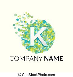 Realistic Letter K logo with blue, yellow, green particles and bubble dots in circle on white background. Vector template for your design