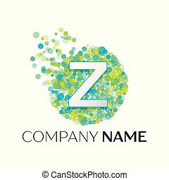 Realistic Letter Z logo with blue, yellow, green particles and bubble dots in circle on white background. Vector template for your design