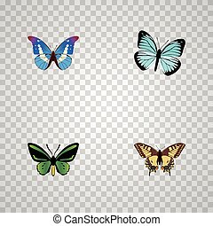 Realistic Lexias, Tiger Swallowtail, Tropical Moth And Other Vector Elements. Set Of Butterfly Realistic Symbols Also Includes Bluewing, Swallowtail, Fly Objects.