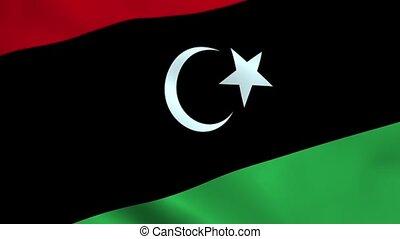 Realistic Libya flag waving in the wind. Seamless looping.