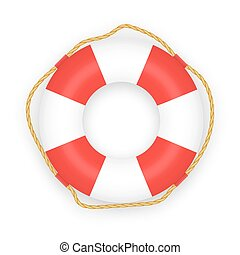 Realistic Lifebuoy isolated on white background. Vector...
