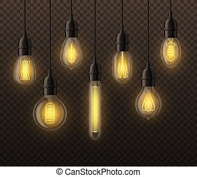 Realistic light bulbs. Hanging vintage edison glowing lamps...