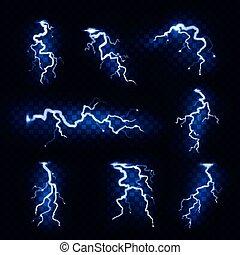 Realistic lightnings. Blitz lightning thunder light sparks...