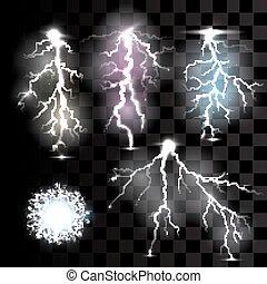 Realistic lightnings on transparent background.