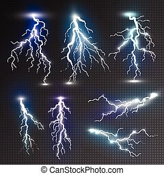 Realistic lightnings set with transparency for design. Magic...