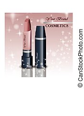Realistic lipstick cosmetics on sparkling background. Nude...