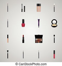 Realistic Liquid Lipstick, Blusher, Pomade And Other Vector Elements. Set Of Cosmetics Realistic Symbols Also Includes Eyeshadow, Mascara, Blush Objects.