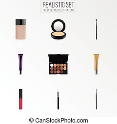 Realistic Liquid Lipstick, Day Creme, Concealer And Other Vector Elements. Set Of Cosmetics Realistic Symbols Also Includes Blusher, Eye, Pomade Objects.