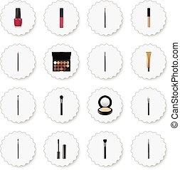 Realistic Liquid Lipstick, Eye Paintbrush, Brow Makeup Tool And Other Vector Elements. Set Of Cosmetics Realistic Symbols Also Includes Pomade, Eye, Ink Objects.