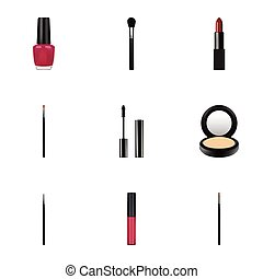 Realistic Liquid Lipstick, Eyelashes Ink, Pomade And Other Vector Elements. Set Of Cosmetics Realistic Symbols Also Includes Pomade, Powder, Eyelashes Objects.