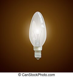 Realistic lit light bulb isolated on black background.