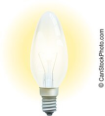 Realistic lit light bulb isolated on white background.