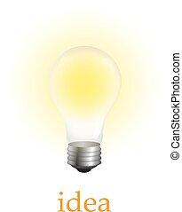 Realistic lit light bulb isolated on white. Vector Illustration