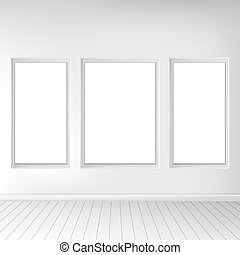 Realistic living room interior. Exposition of paintings on the wall. Vector illustration.
