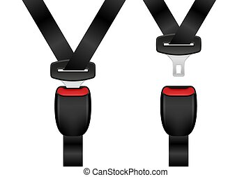 Realistic locked and unlocked seat belt set. Open and closed automobile seat belts