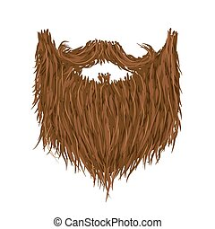 Realistic long brown beard on white