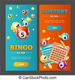 Realistic Lotto Banner Vertical Set. Vector