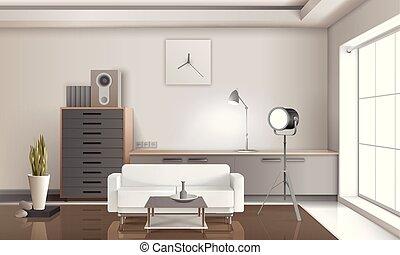 Realistic Lounge Interior 3D Design
