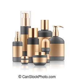 Realistic luxury gamorous set of cosmetic bottles, mockup, 3D