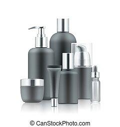 Realistic luxury premium brand set of cosmetic bottles, mockup, 3D