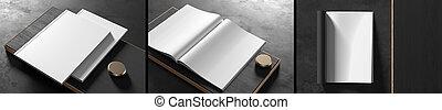 Realistic magazine or catalog mock up on dark background. ...
