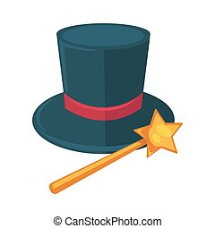 Realistic magician dark hat with purple ribbon and magic stick