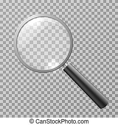 Realistic magnifying glass isolated on checkered background vector illustration