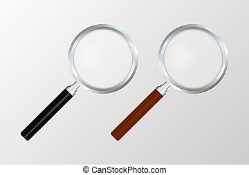 Realistic magnifying glass on transparent background. Search and inspection symbol. Bussiness concept. Sciene or school supplies. Vector stock illustration