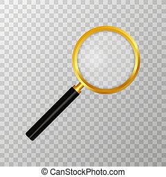 Realistic magnifying glass on transparent background. Search and inspection symbol. Bussiness concept. Sciene or school supplies. Vector illustration