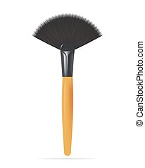 Realistic Make up Fan Brush Isolated on white background. Vector illustration