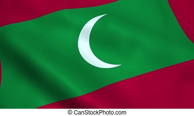 Realistic Maldives flag waving in the wind. Seamless...