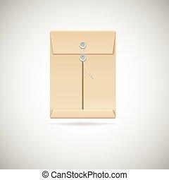 Realistic manila envelope isolated on white background