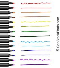 Realistic markers with different colors strokes. Vector illustration.
