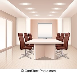 Realistic Meeting Room Interior - Realistic meeting room...