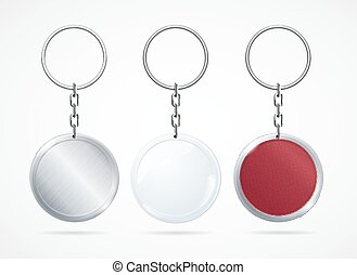 Realistic Metal and Plastic Keychains Set. Vector