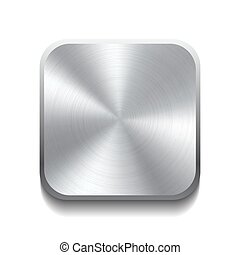 Realistic metal button with circular processing. Vector...