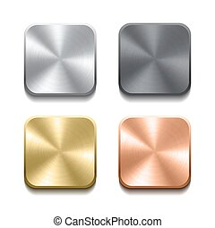 Realistic metal buttons