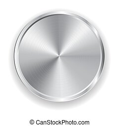 realistic metal grey button for domestic electronics